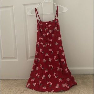 Red hollister dress with pink flowers.